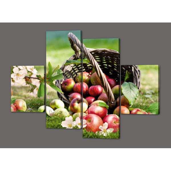 Модульная картина Корзина с яблоками 120*93 см Код: 562.4к.120