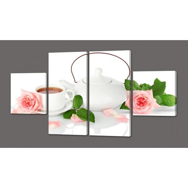 Модульная картина Чай и розы 116х64 см Код: 564.4к.116