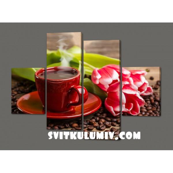 Картина из частей Чашка кофе 120*93 см Код: 530.4к.120