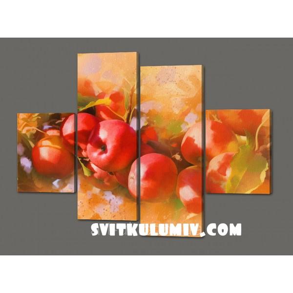 Модульная картина Натюрморт из яблок 120*93 см Код: 524.4к.120