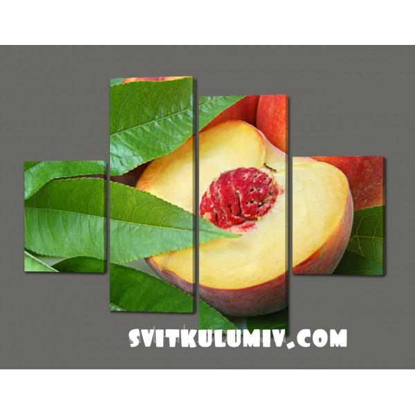 Сегментная картина фрукты Персик 120*93 см Код: 344.4к.120