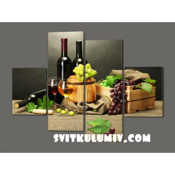 Модульная картина Натюрморт с вином 120*114 см Код: 536.4к.120