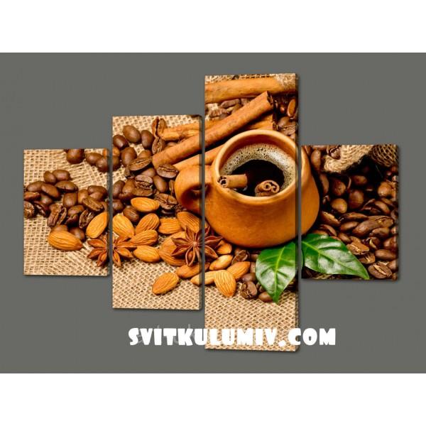 Модульная картина Чашечка кофе( миндаль,корица,зерна кофе) 120*96,5 см Код: 499.4к.120