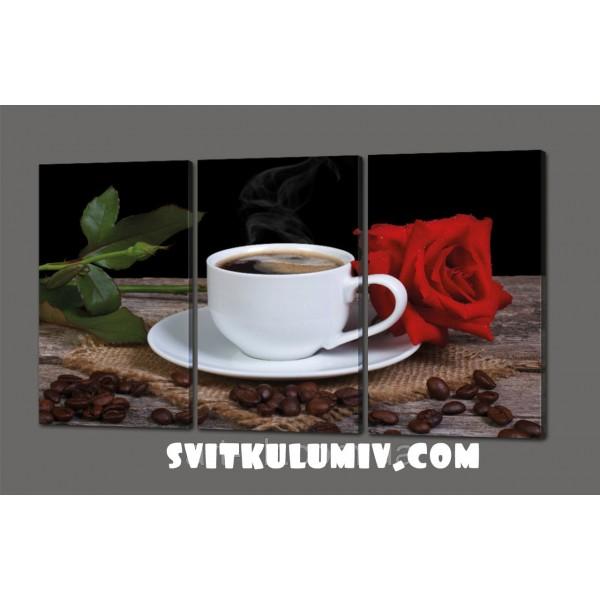 Модульная картина Кофе и роза 120*70 см Код: 346.4к.120
