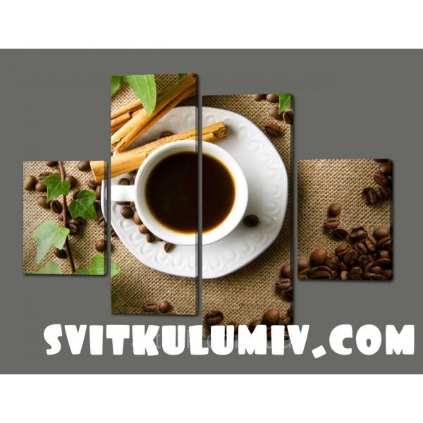 Модульная картина на кожзаме Чашечка Кофе(Кухня) 120*93 см Код: 345.4к.120