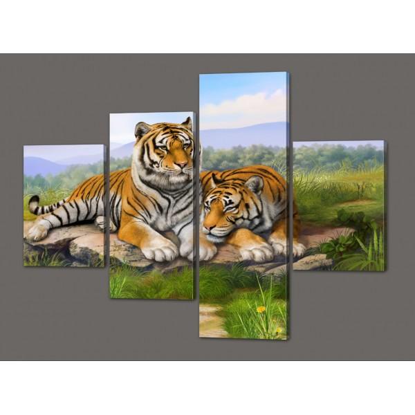 Картина из частей Тигры 120*96,5 см Код: 558.4к.120