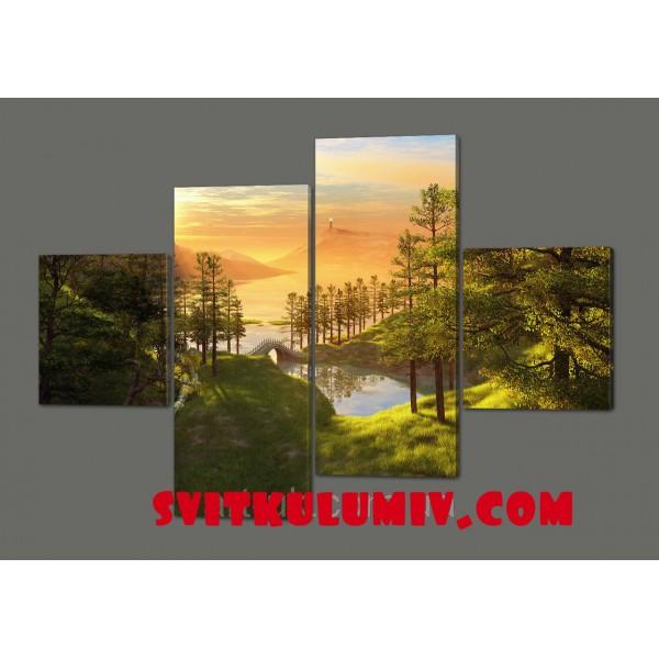 Картина из четырех частей Природа 160*114 см Код: 533.4к.160