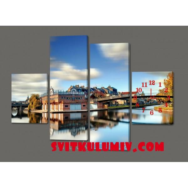 Модульная картина с часами Мост 120*93 см Код: 427.4к.120