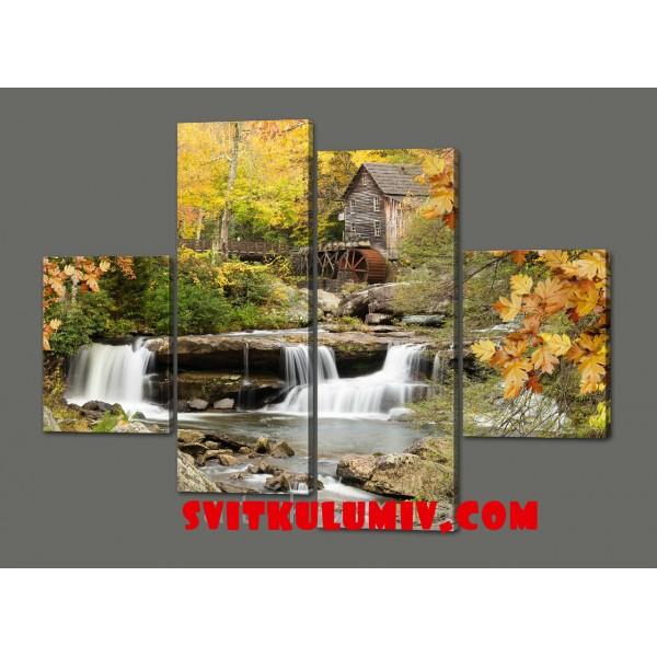 Модульная картина Горная река 120*93 см Код: 521.4к.120