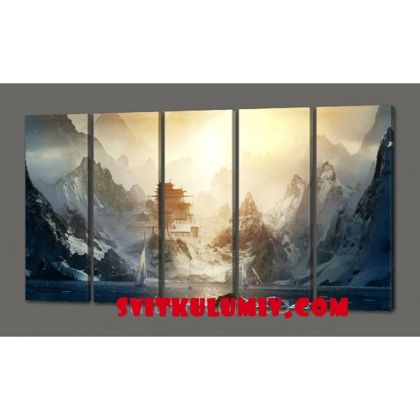 Модульная картина Восход в горах110*64 см Код: 522.5к.110