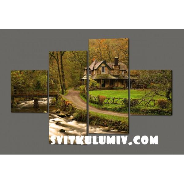 Модульная картина Домик в лесу 160*114 см Код: 523.4к.160