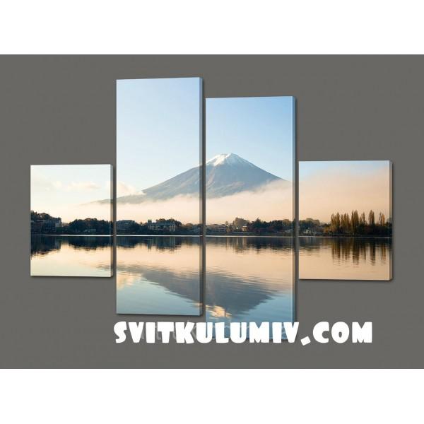 Модульная картина Горы. Озеро 120*114 см Код: 525.4к.120