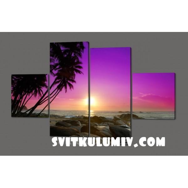 Модульная картина Закат. Мальдивы 160*106 Код: 541.4к.160