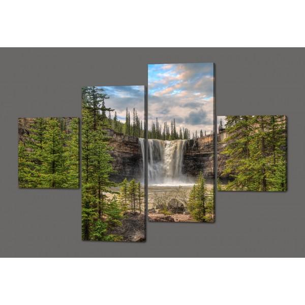 Модульная картина Водопад в лесу 160*114 см Код: 518.4к.160
