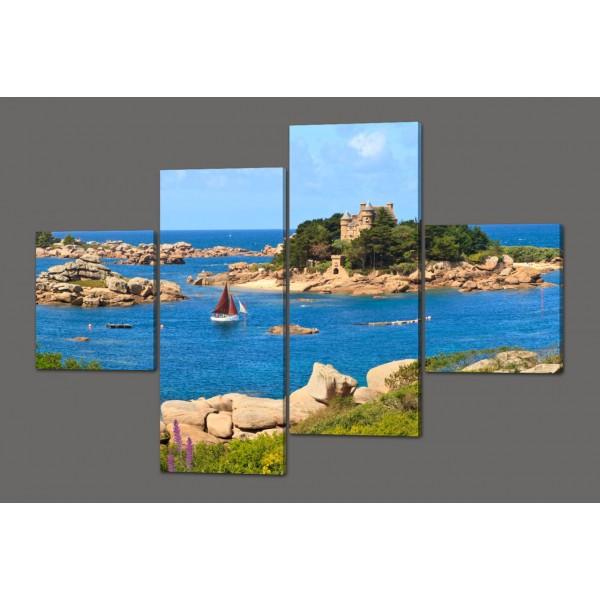 Модульная картина Берег розового гранита. Бретань(Cote de granite Rose) 160*114 см