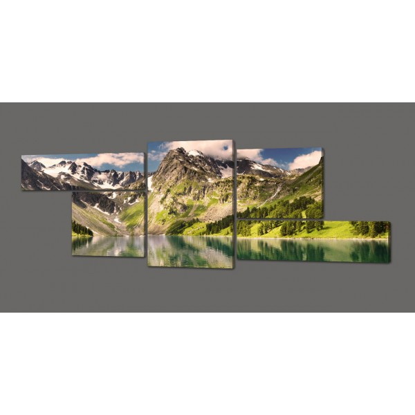 Модульная картина Горы.Озеро 263*100 см Код: 353.5к.260