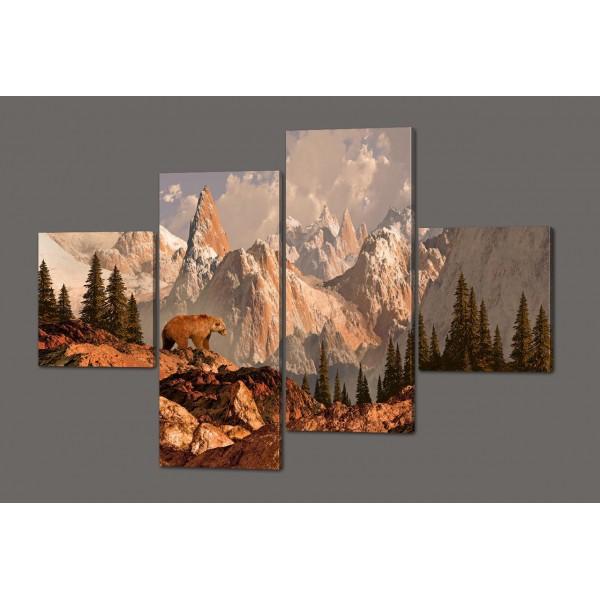 Модульная картина Зимний пейзаж (Медведь на фоне скал) 160*114 см Код: 468.4к.160