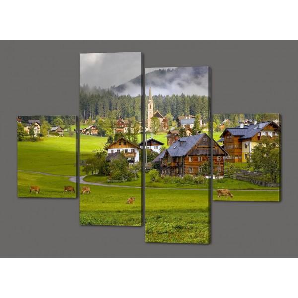 Модульная картина Горный пейзаж 120*93 см Код: 458.4к.120