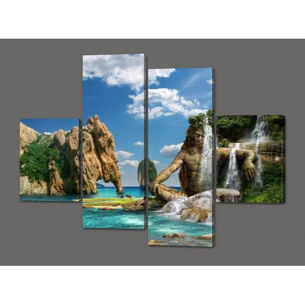 Модульная картина Водопад 120*93 см Код: 438.4к.120