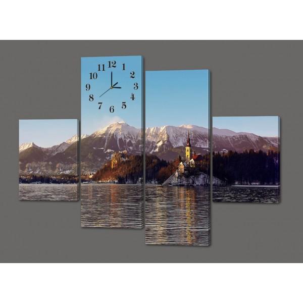 Модульная картина с часами Горы.Замок.Зима 120*93 см Код: 433.4к.120