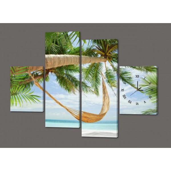 Модульная картина с часами Пальмы 120*93 см Код: 429.4к.120