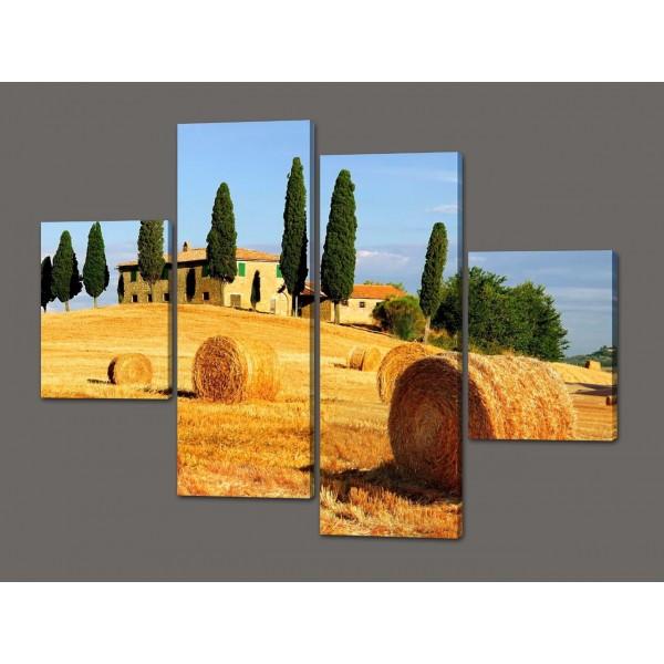 Модульная картина Пейзаж в Италии Стога сена 120*93 см Код: 363.4к.120