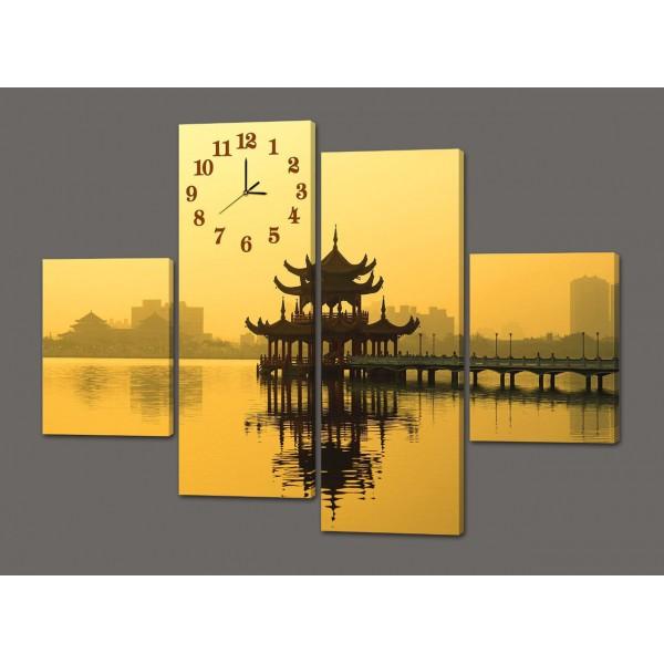 Модульная картина с часами Озеро лотосов. Тайвань 120*93 см Код: 425.4к.120