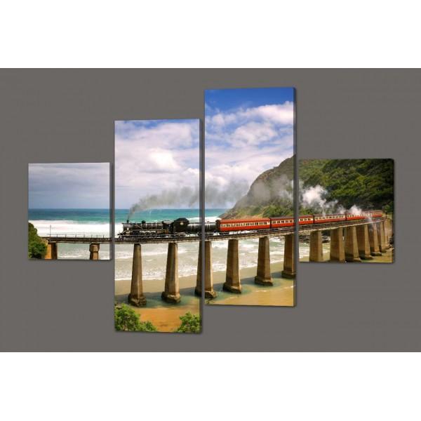 Модульная картина Железная дорога вдоль моря 160*114 см Код: 420.4к.160