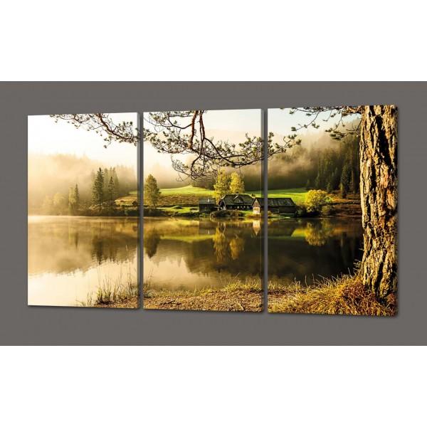 Модульная картина Домик у озера. Красота вокруг нас 120*93 см Код: 374.4к.120