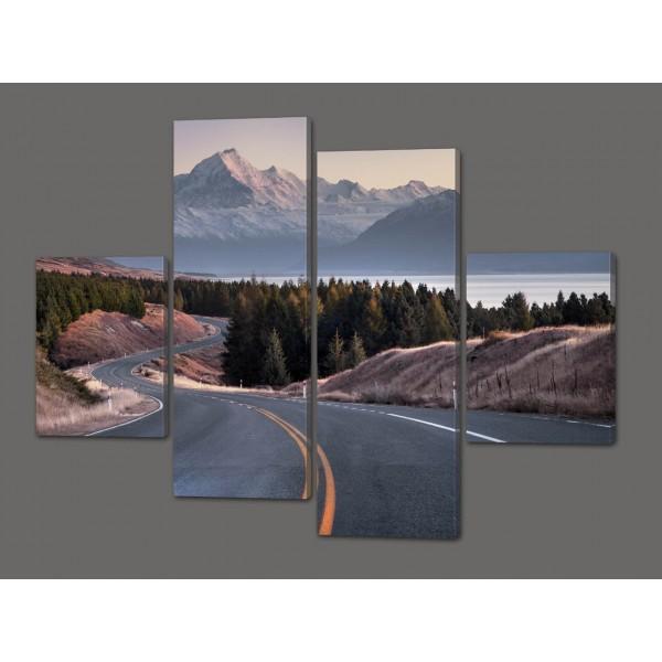Модульная картина Горы.Лес.Дорога 120*93 см