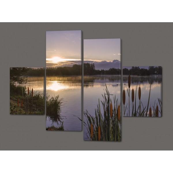 Модульная картина Озеро и камыши 120*93 см Код: 334.4к.120