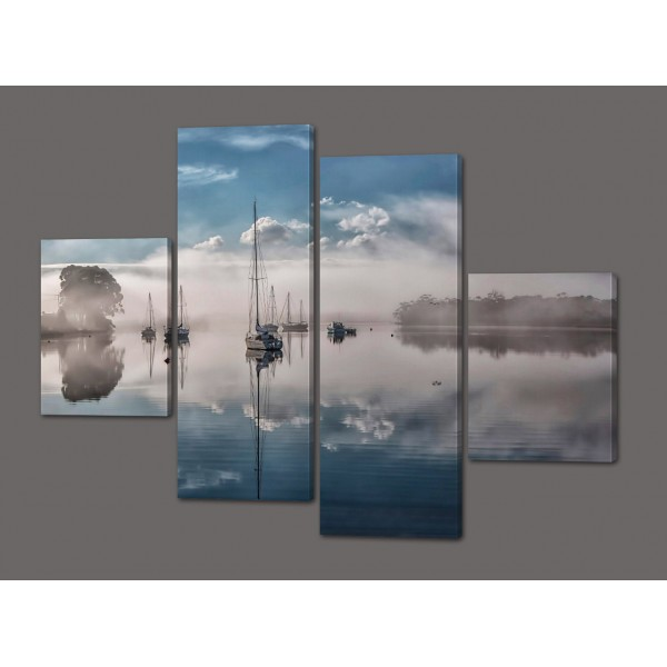 Модульная картина Парусники.Облака 120*93 см Код: 323.4к.120