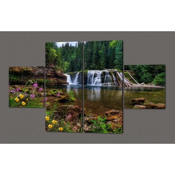 Модульная картина Водопад. Лес 160*100 см Код: 330.4к.160