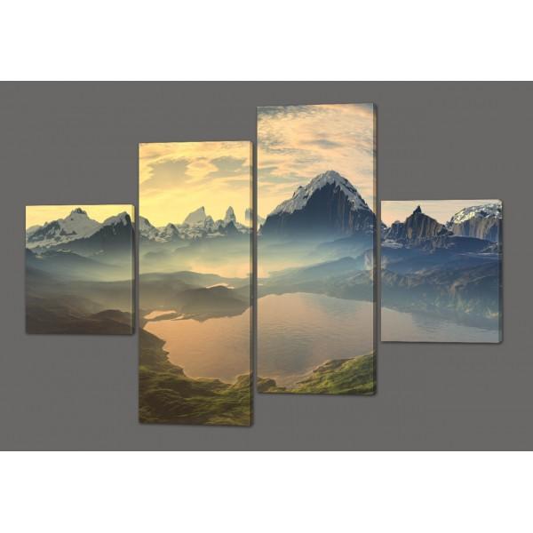Модульная картина Озеро.Горы. Новая Зеландия 160*114 см Код: 259.4k.160