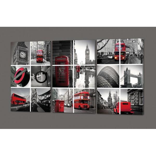 Стильная модульная картина коллаж Лондон 120*70 см Код: 272.3k.120