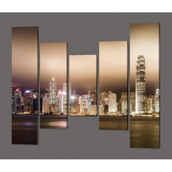 Модульная картина из пяти частей Ночная Америка 140*125 см Код: 583.5к.140