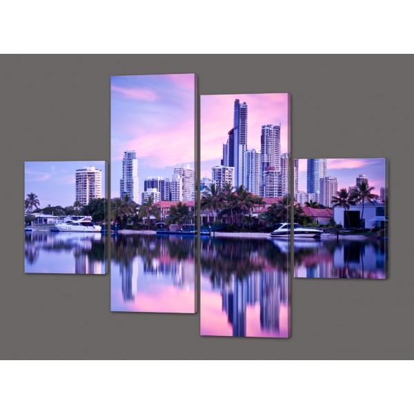 Модульная картина Ночной городской пейзаж - Мельбурн 120*93 см Код: 559.4к.120