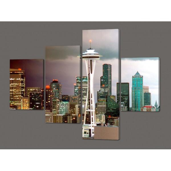 Модульная картина Небоскребы.Seattle Skyline (города мира) 120*96,5 см Код: 549.4к.120