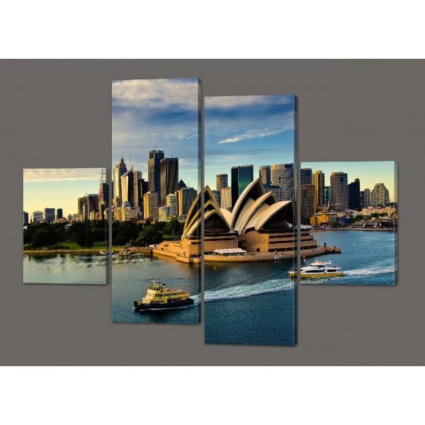 Модульная картина на искусственной коже Оперный театр в Сиднее. Австралия. 120*93 см Код: 546.4к.120