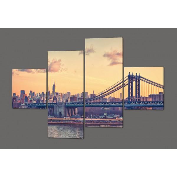 Модульная картина Манхеттенский мост в сумерках. Нью-Йорк 160*114 см Код: 515.4к.160