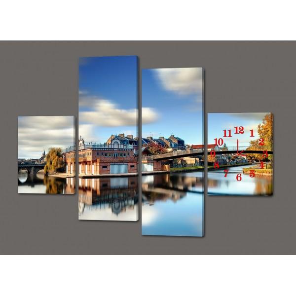 Модульная картина с часами Город. Мост 120*93 см Код: 427.4к.120