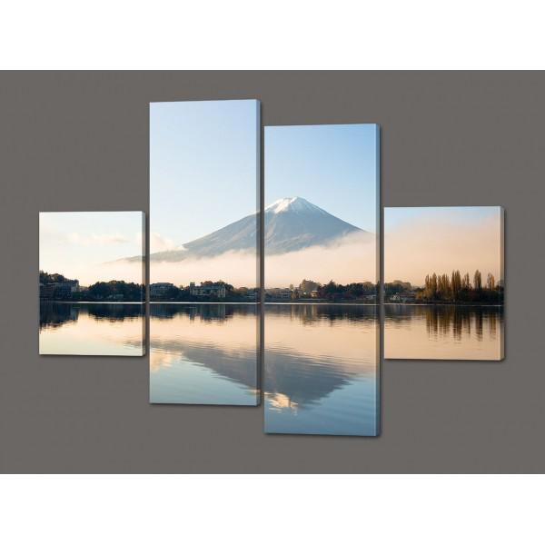 Модульная картина Домики на фоне гор 120*114 см Код: 525.4к.120