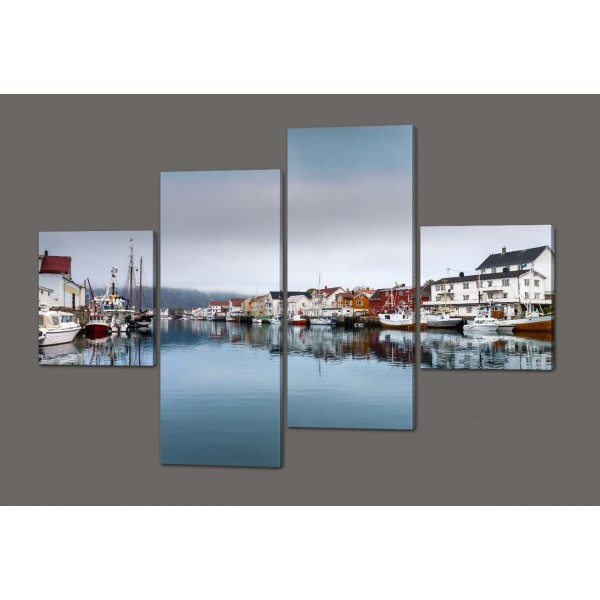 Модульная картина Город, море, лодки 160*114 см Код: 517.4к.160