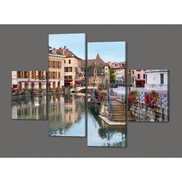 Модульная картина Городской пейзаж Брюге, Бельгия 120*93 см Код: 516.4к.120