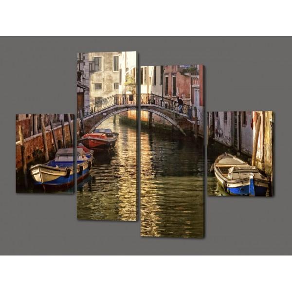 Модульная картина Мост через канал в Венеции. Италия 120*93 см Код: 507.4к.120