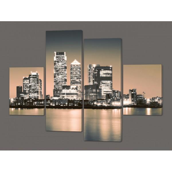 Модульная картина Ночной Нью-Йорк 120*93 см Код: 208.4k.120