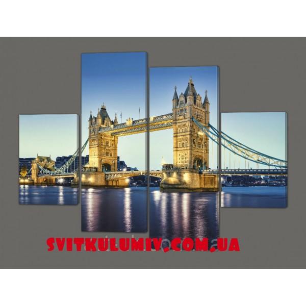 Картина на коже модульная Мост в Лондоне Код: 201.4к.120