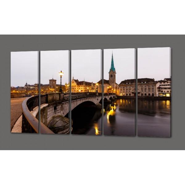 Модульная картина Мост (вид на Цюрих из старого центра города) 110*64 см Код: 475.5к.110