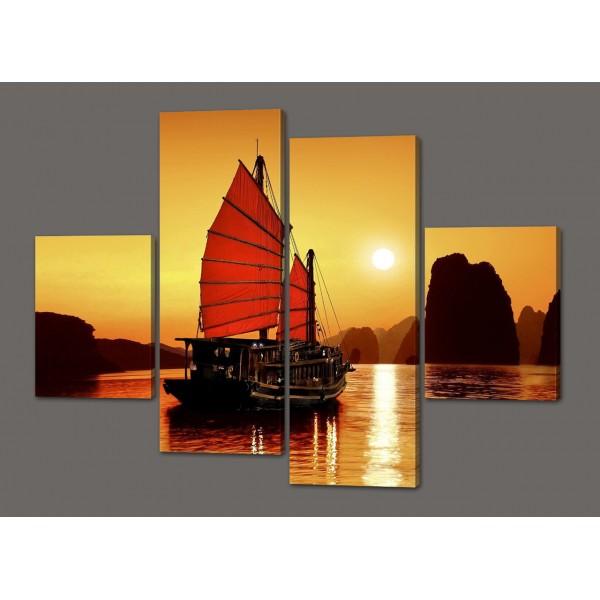 Модульная картина Закат в бухте Ха Лонг. Вьетнам (море, скалы, паруса)120*93 см Код: 483.4к.120