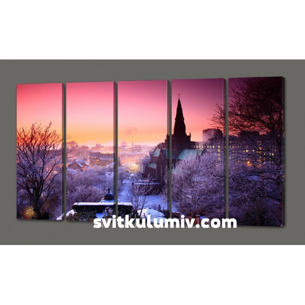 Модульная картина Зимняя Прага.Чехия 110*64 см (картина из пяти частей)Код: 473.5к.110